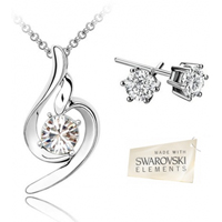 Clear Swarovski Elements Pendant  Earrings Set With 18k White Gold Plating