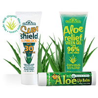 3-piece set of Miracle of Aloes Sunshield SPF-30 Sunblock Aloe Relief Green Gel and Aloe SPF-15 Li