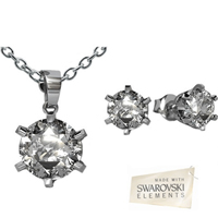 Swarovski Elements Solitaire Pendant  Stud Earrings Set - 29