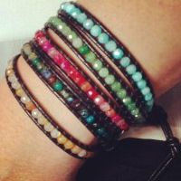 Semi-Precious Stone Wrap Bracelet for 12 with free shipping