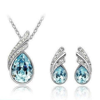 18K White Gold Plated NecklaceEarrings Crystal Sea Blue Set  - 20 with FREE Shipping