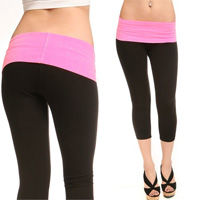Yoga Capris with Fold-Over Waistband - Set of TWO - 18 with FREE Shipping